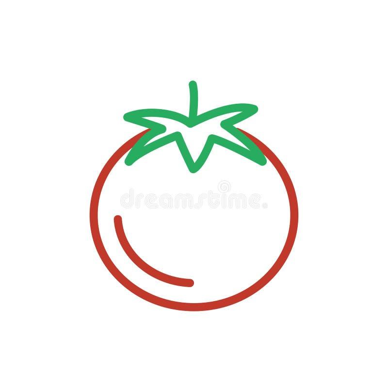 Pomidorowy czerwony ikona wektor Konturu koloru wegetarian jedzenie, kreskowy tom royalty ilustracja