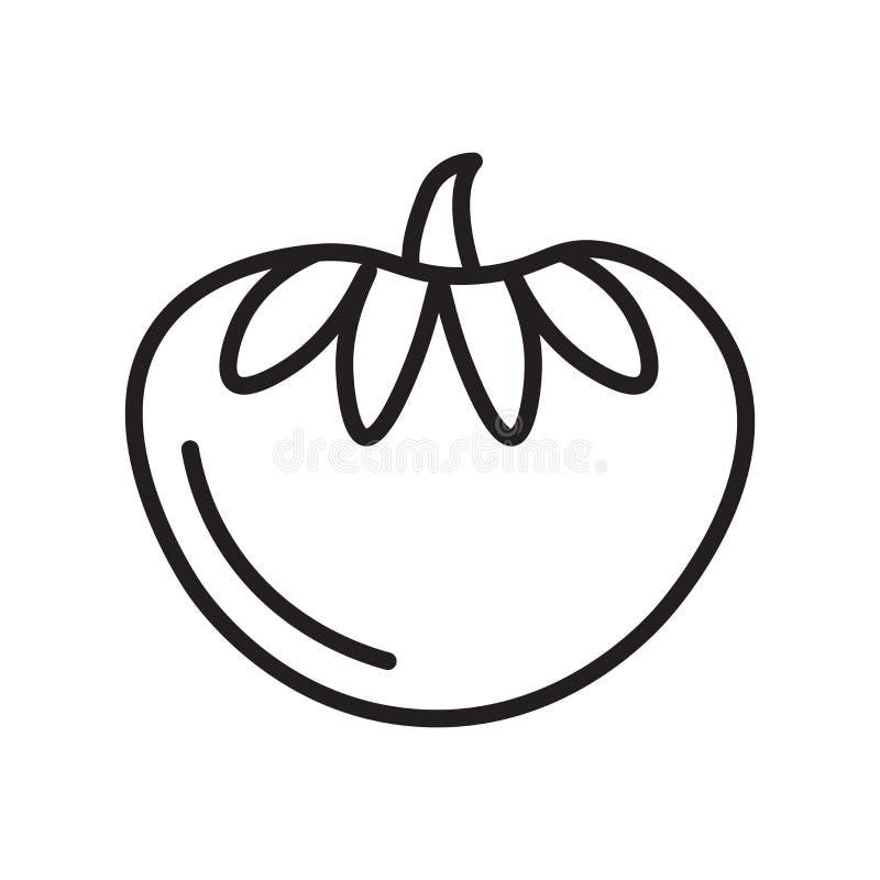 Pomidorowy ikona wektoru znak i symbol odizolowywający na białym tle, Pomidorowy logo pojęcie, konturu symbol, liniowy znak, kont ilustracji