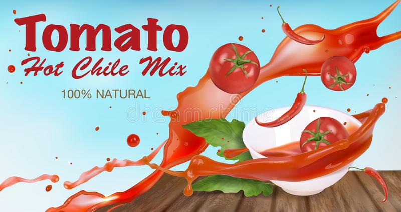 Pomidorowy kumberland z gorącymi pieprzami w białym pucharze z pluśnięciami Etykietka projekta pomysł ilustracji