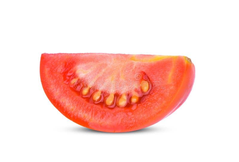 Pomidorowy plasterek odizolowywaj?cy na bia?ym tle fotografia royalty free