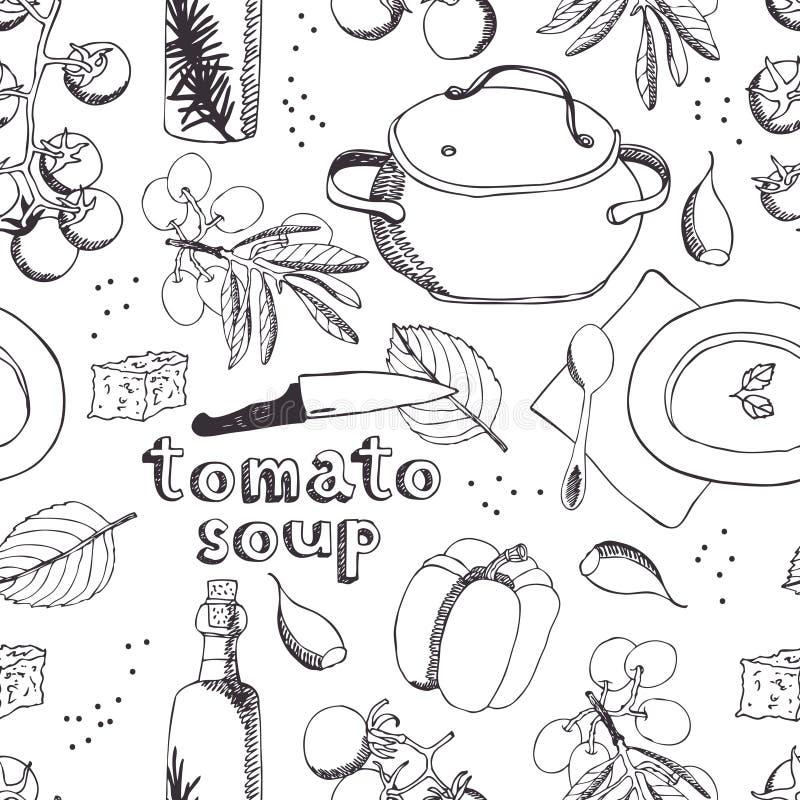 Pomidorowy polewka wzór ilustracji