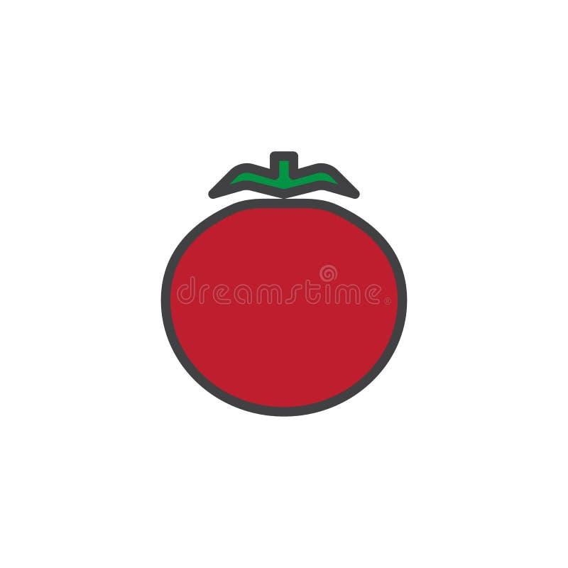 Pomidorowy warzywo wypełniająca kontur ikona ilustracji