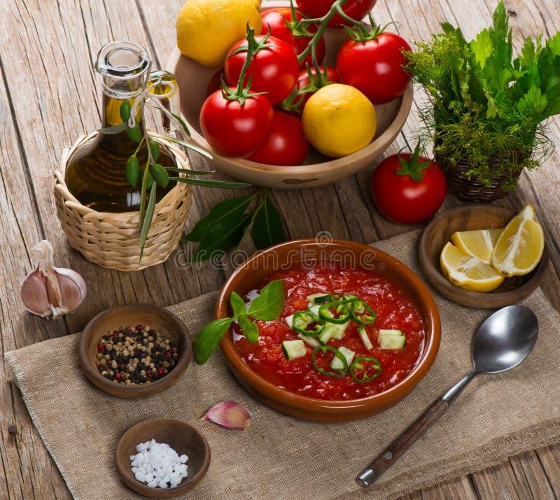 Pomidorowy zupny gaspacho zdjęcia royalty free