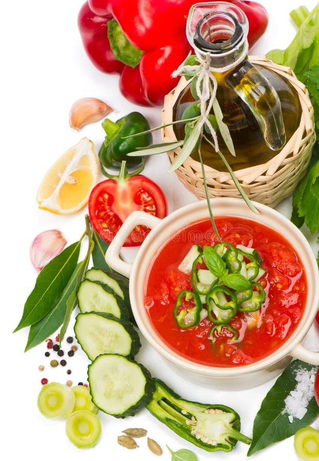 Pomidorowy zupny gazpacho, warzywa i pikantność, zdjęcia stock
