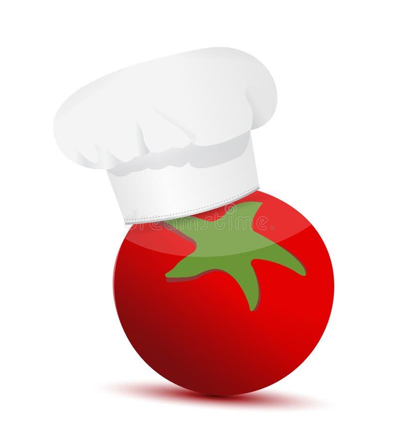 Pomidoru być ubranym szefowie kuchni kapeluszowi. royalty ilustracja