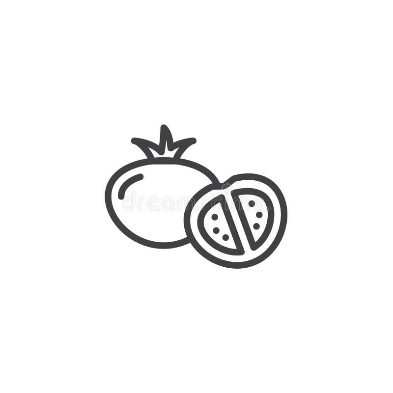 Pomidory cali i połówki linii ikona ilustracja wektor