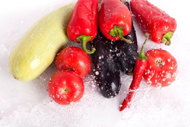 Pomidory, czerwoni słodcy pieprze, gorący chili pieprze, fiołkowe oberżyny, zielony zucchini w kroplach woda obrazy stock