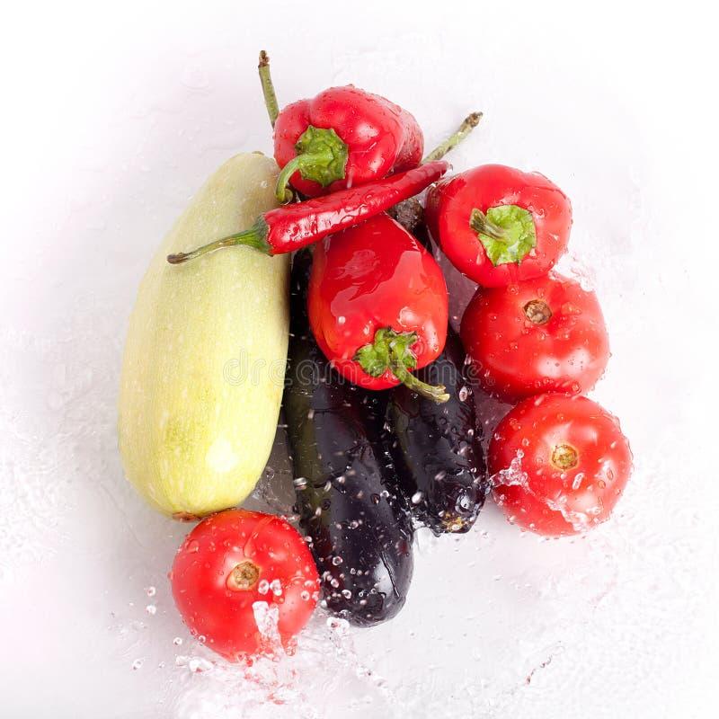 Pomidory, czerwoni słodcy pieprze, gorący chili pieprze, fiołkowe oberżyny, zielony zucchini w kroplach woda zdjęcia royalty free