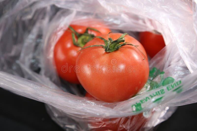 Pomidory w sklep spożywczy torbie zdjęcie royalty free