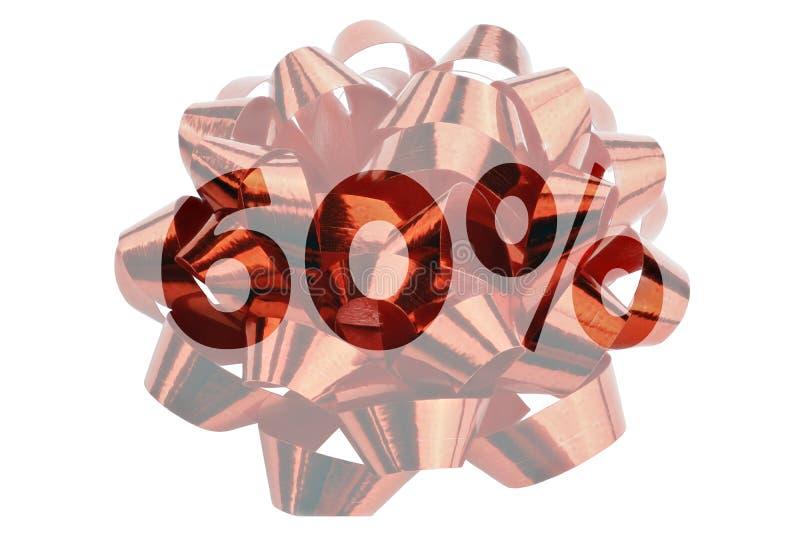 Pomija 60% symbolicznie przedstawiającego w postaci podkreślającego teksta 60% przed czerwoną prezent pętlą zdjęcie stock