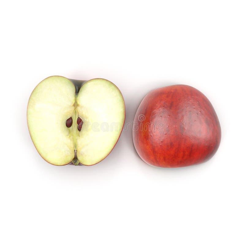 Pomme à moitié rouge d'isolement sur le blanc illustration 3D illustration de vecteur