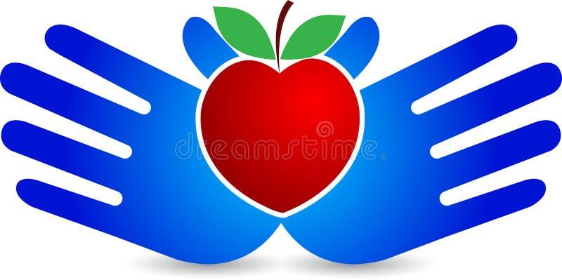 Pomme de coeur de main illustration de vecteur