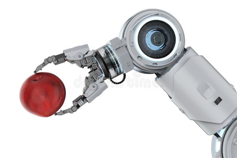 Pomme de récolte de bras de robot photographie stock