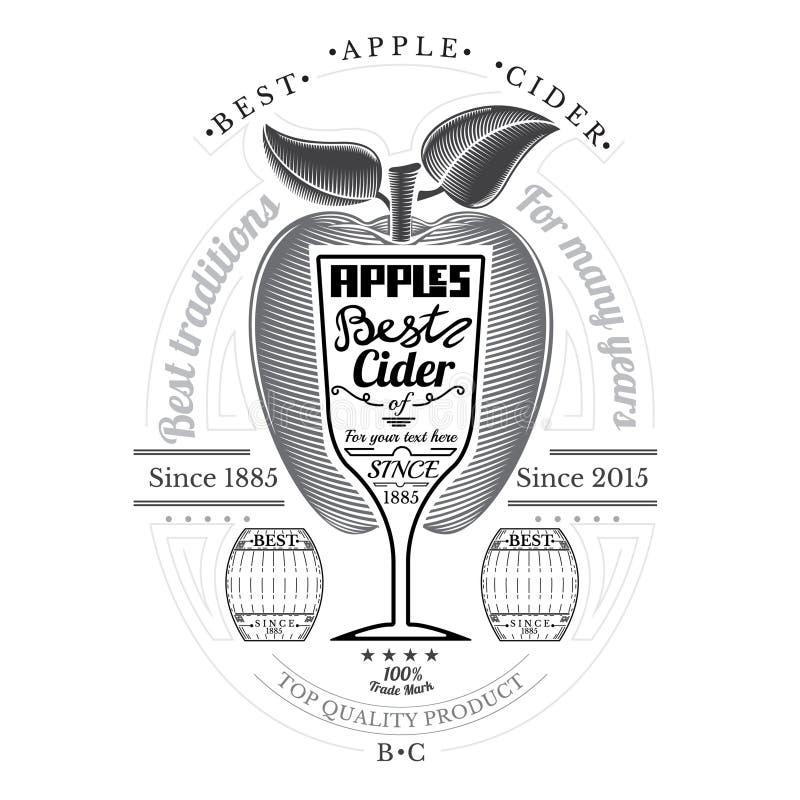 Pomme de style de gravure avec le verre à vin pour le texte au centre Label de cidre sur le blanc illustration stock