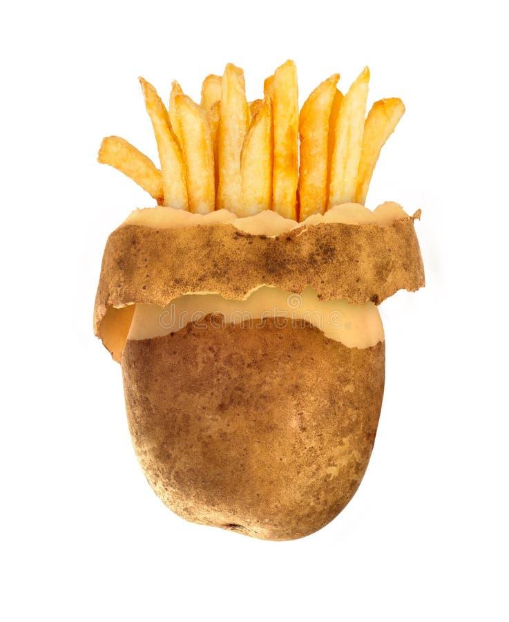Pomme de terre épluchée par conzept et pommes frites d'aliments de préparation rapide images stock