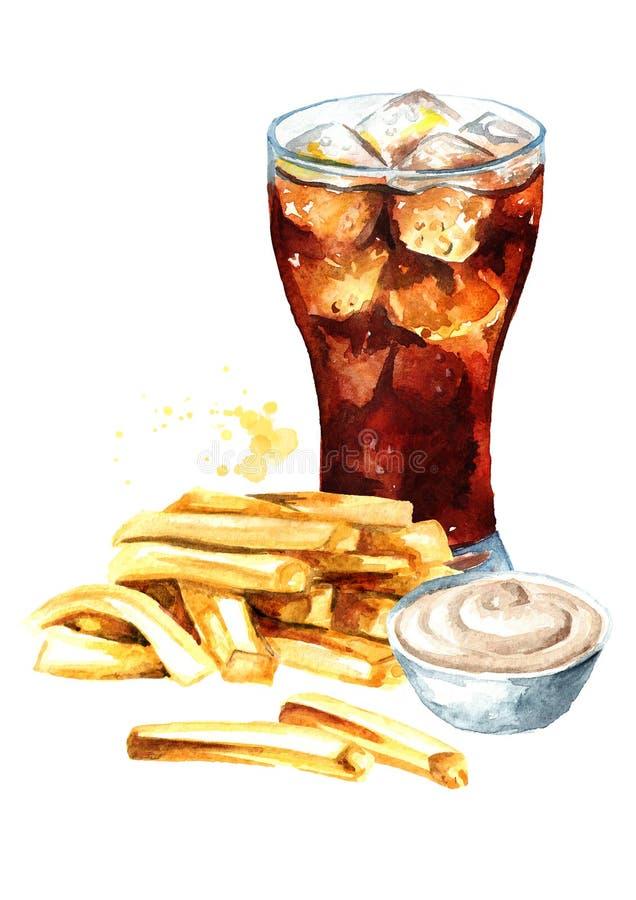 Pomme de terre de b?ton de pommes frites avec de la sauce et le verre de la boisson de kola Concept d'aliments de pr?paration rap illustration de vecteur