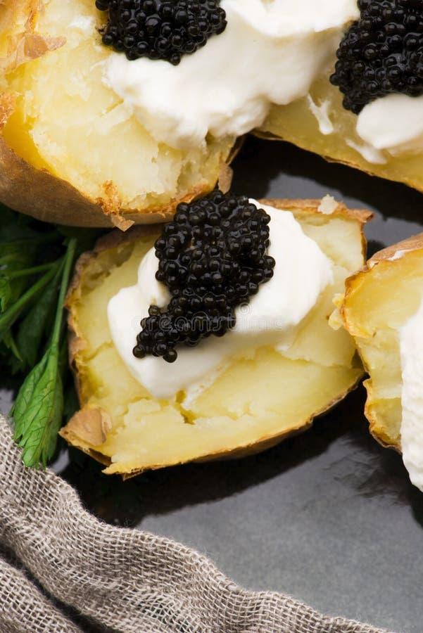 Pomme de terre cuite à la crème épicée, fromage et caviar photographie stock libre de droits