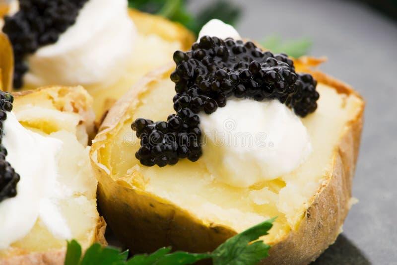 Pomme de terre cuite à la crème épicée, fromage et caviar photo stock