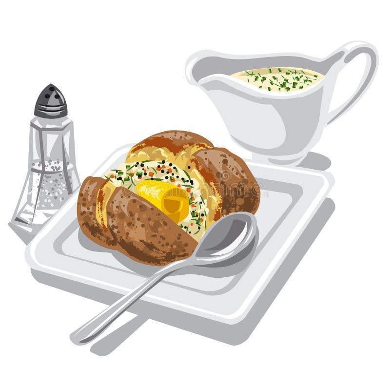 Pomme de terre cuite au four avec de la sauce illustration libre de droits