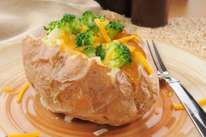 Pomme de terre cuite au four avec le brocoli et le fromage photos stock