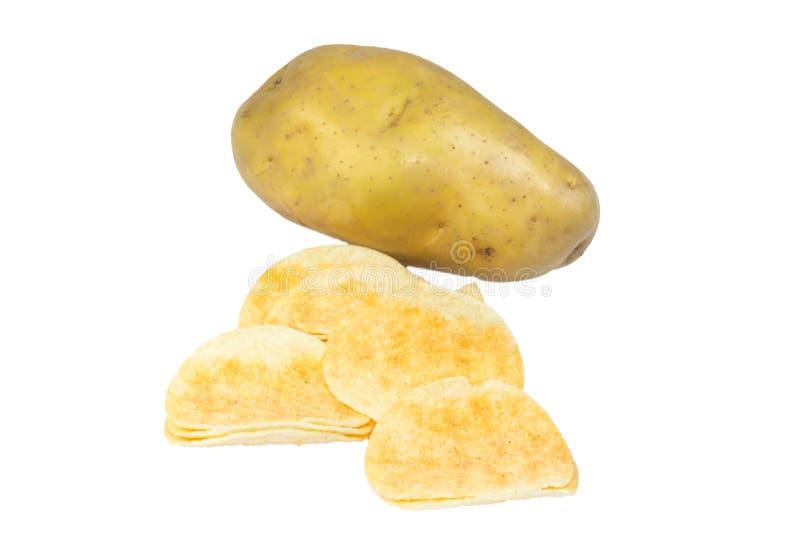 Pomme de terre de frites et pomme de terre épluchée photographie stock libre de droits