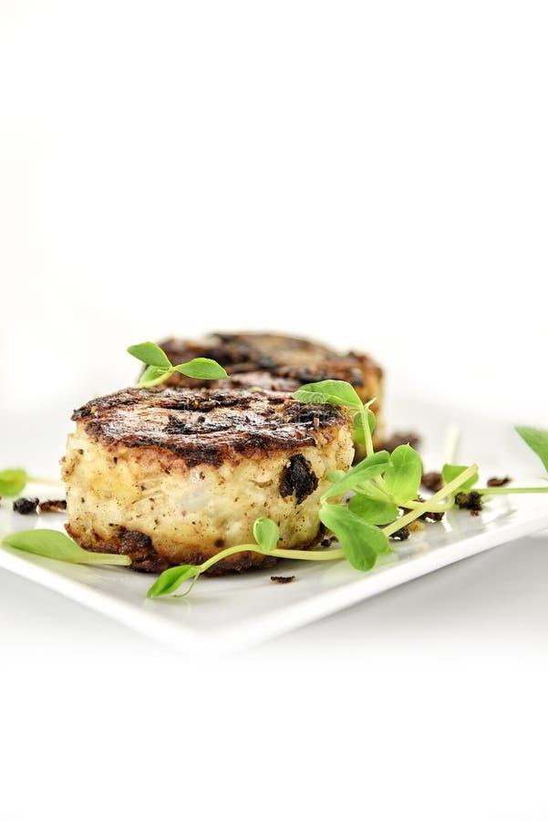 Pomme de terre et oignon FritterPotato et beignet d'oignon photo libre de droits