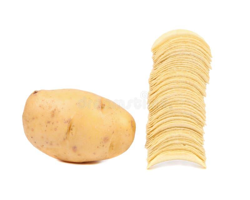 Pomme de terre et pile de frites. image stock