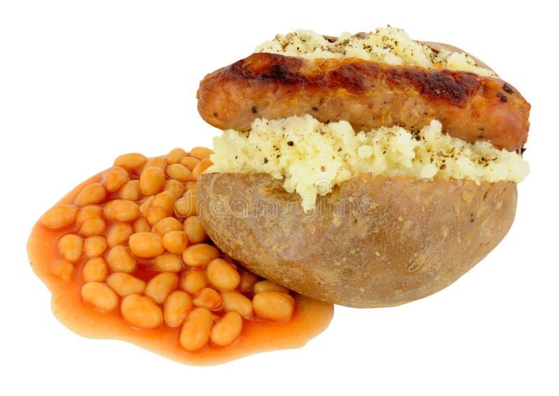 Pomme de terre et saucisse cuites au four avec les haricots cuits au four images libres de droits
