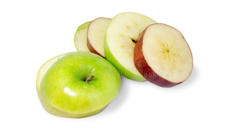 Pomme de tranche rouge et verte image stock