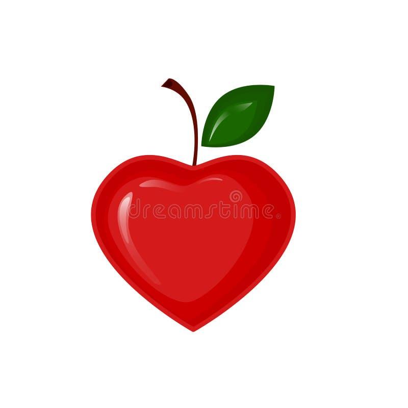 Pomme de vecteur sous forme de coeur illustration stock