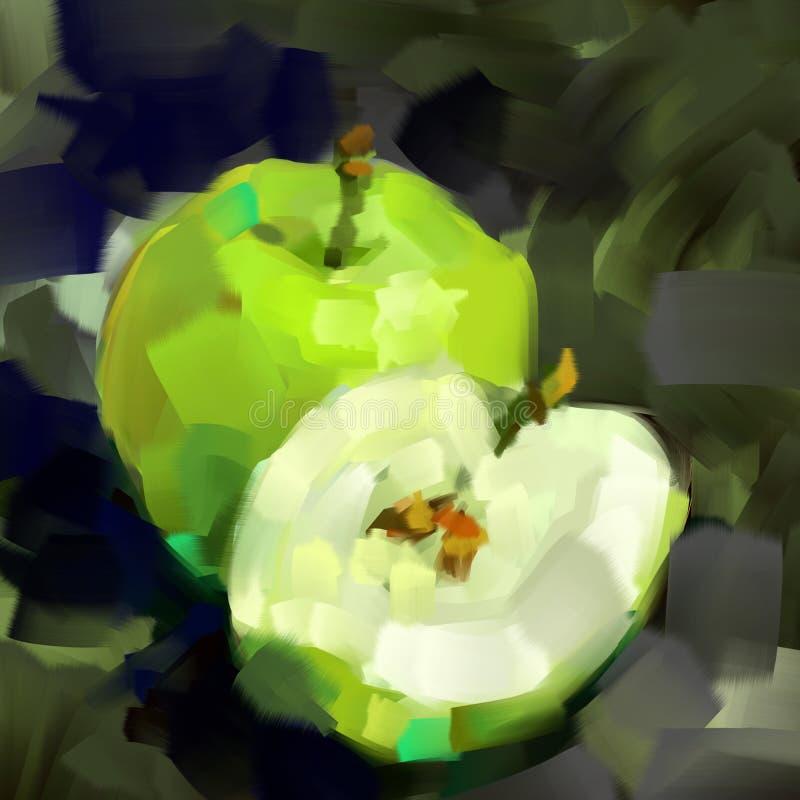 Pomme de vert de peinture de Digital et sa moitié sur un fond gris illustration stock