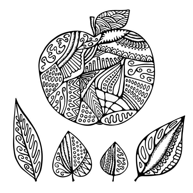 Pomme et feuille d'isolement par résumé courant de vecteur Modèle d'aspiration de main illustration de vecteur