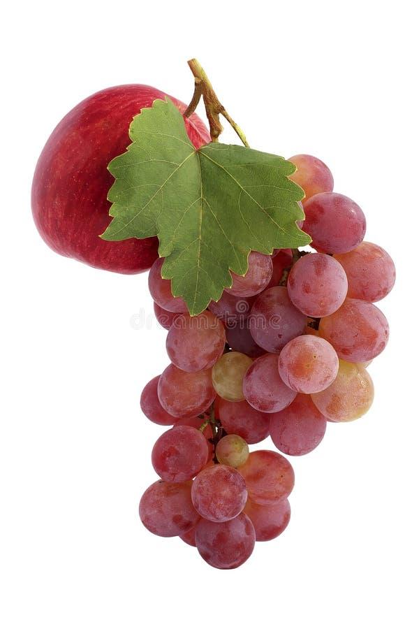 Pomme et raisins rouges images libres de droits