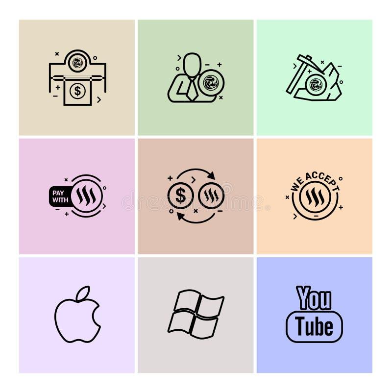 pomme, fenêtres, youtube, connexion, nxs, cryptos, devise, Cr illustration stock