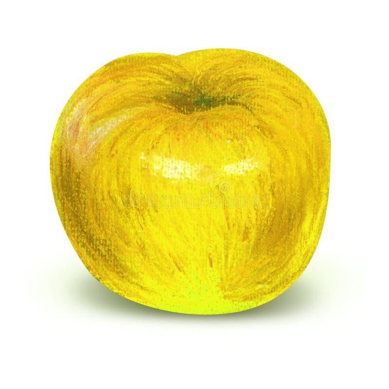 Pomme jaune peinte avec le chemin de travail illustration libre de droits