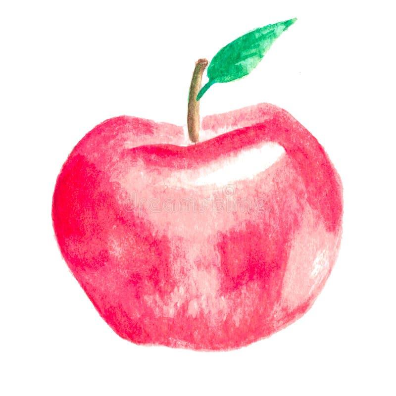 Pomme peinte à la main d'aquarelle inspirée par saison d'automne illustration stock