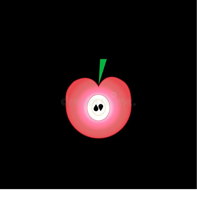 Pomme rose plate avec les graines et la feuille verte sur le fond noir illustration stock