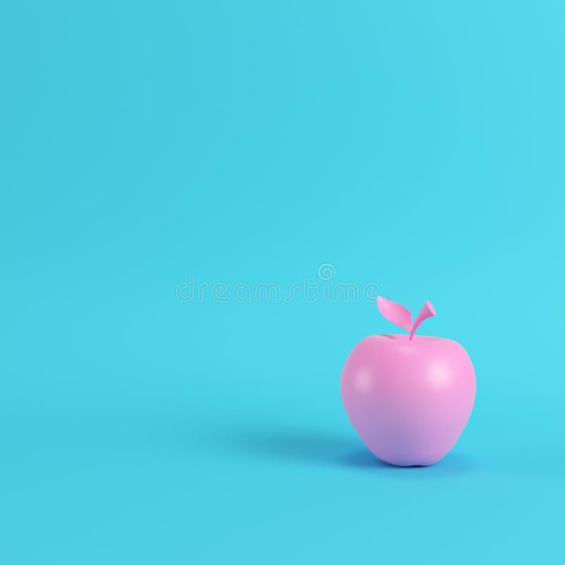 Pomme rose sur le fond bleu lumineux dans des couleurs en pastel illustration stock