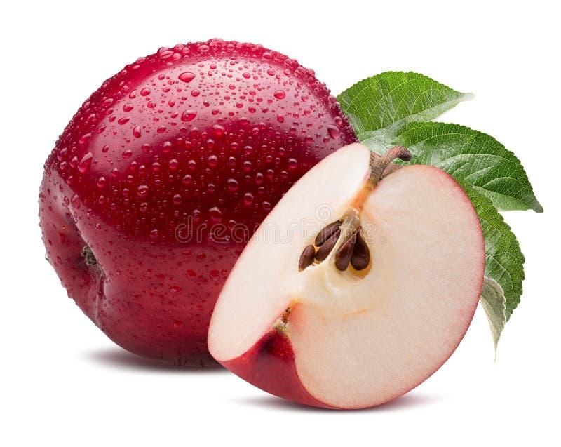 Pomme rouge avec la tranche dans des baisses de l'eau d'isolement sur un backgrou blanc image libre de droits