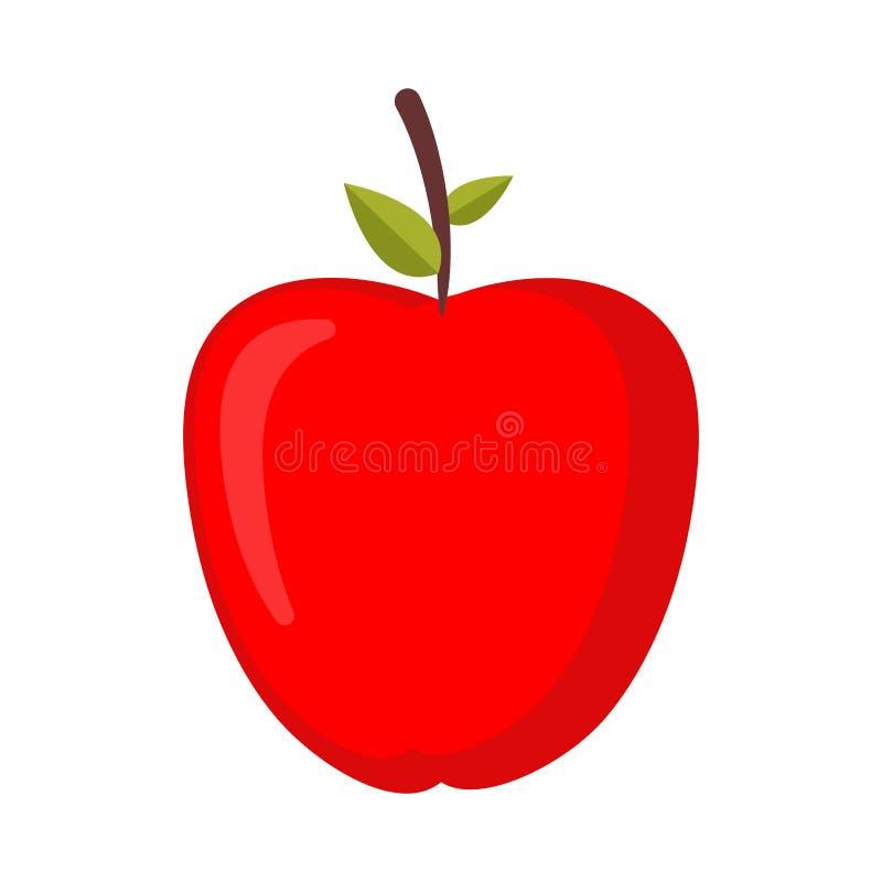 Pomme rouge d'isolement Fruit juteux frais mûr illustration de vecteur