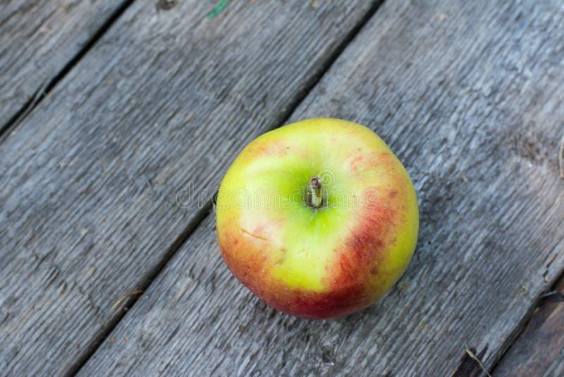 Pomme rouge et jaune mûre sur la table en bois Apple dans le jardin Concept végétarien D'automne de récolte toujours nourriture d photos stock