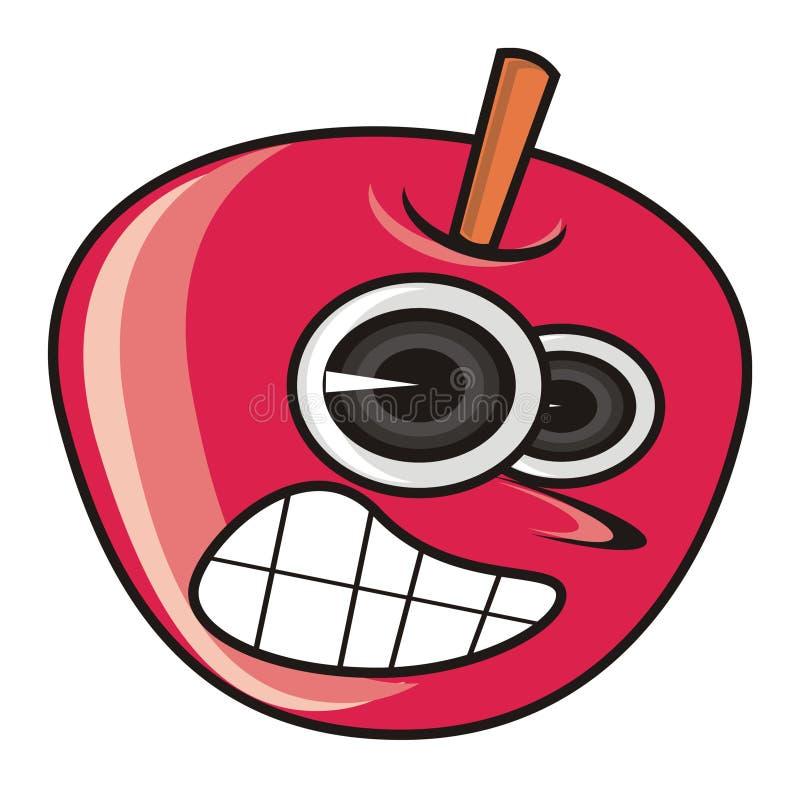 Pomme rouge mauvaise illustration de vecteur