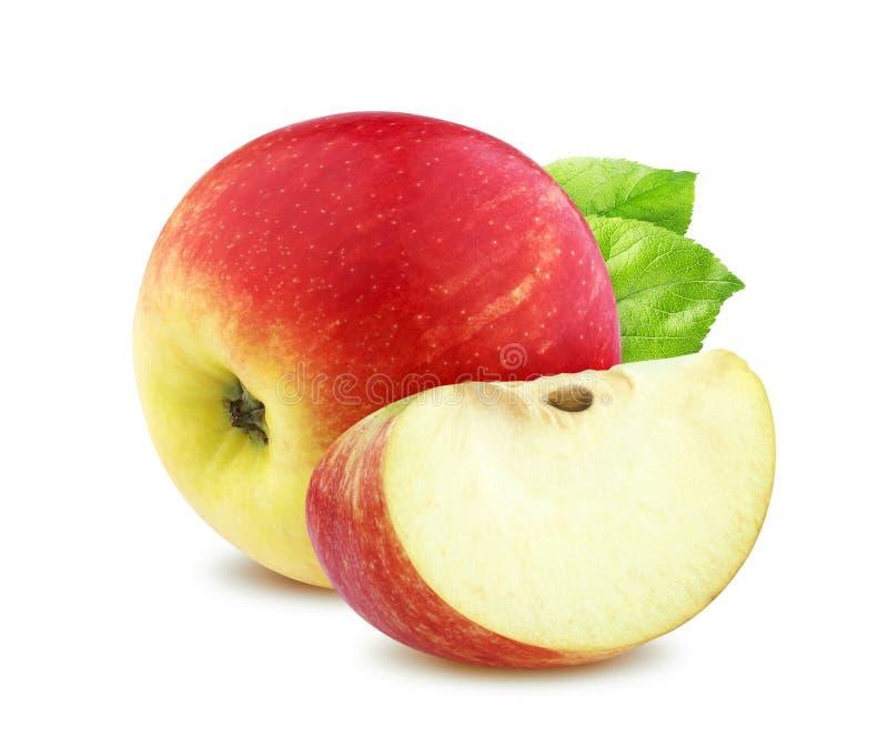 Pomme rouge simple d'isolement sur le fond blanc images libres de droits