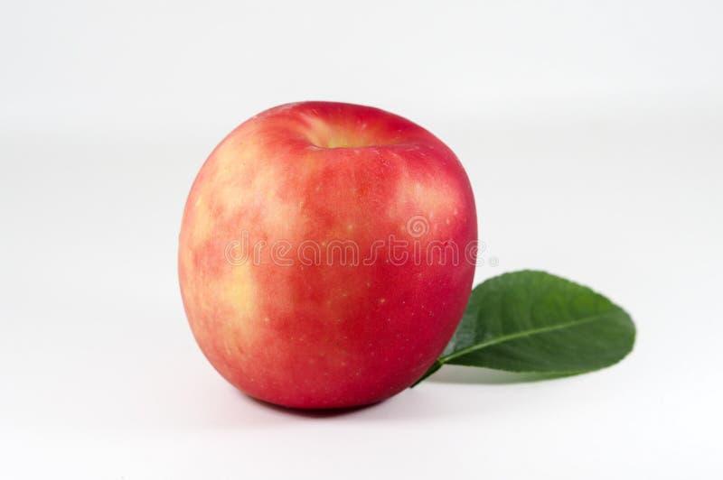 Pomme rouge sur fond blanc images stock