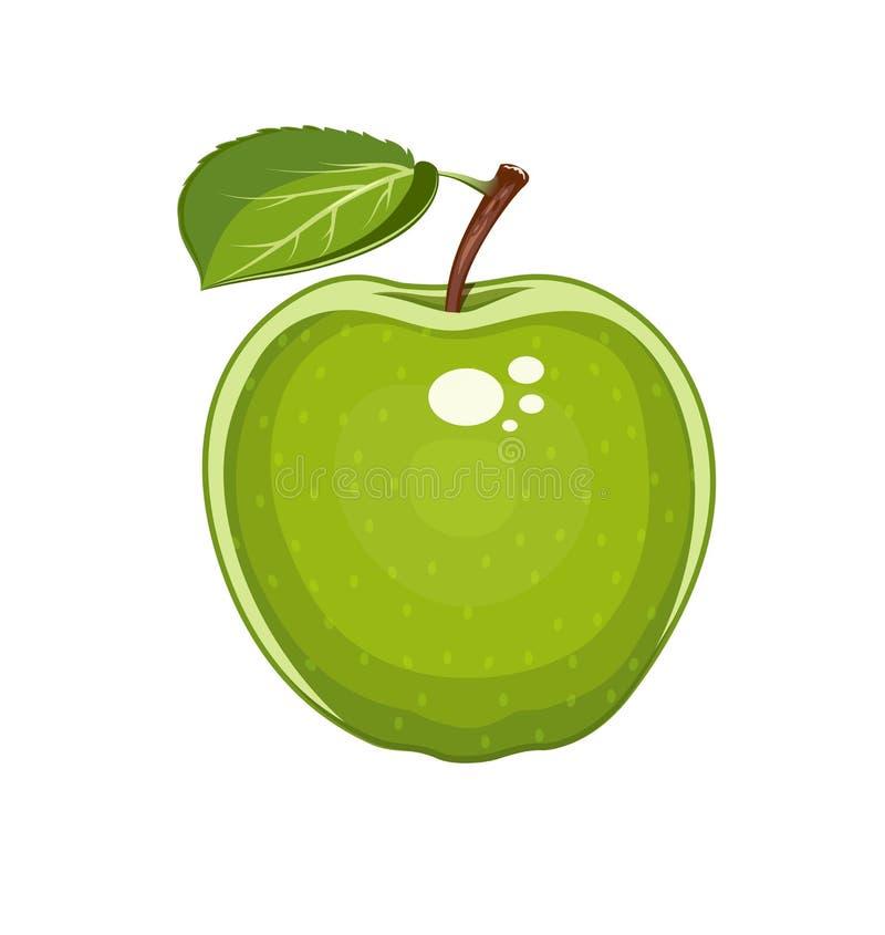 Pomme verte avec la lame Fruit doux naturel illustration stock