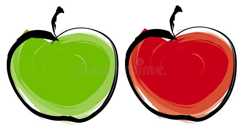 Pomme verte et rouge illustration libre de droits