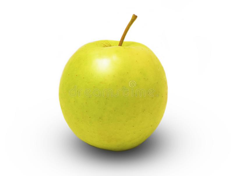 Pomme verte fraîche brillante sur fond blanc photos libres de droits