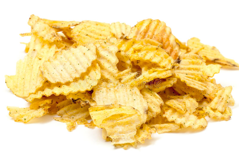 Pommes chips cannelées image stock