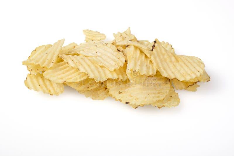 Pommes chips d'isolement sur le blanc image stock