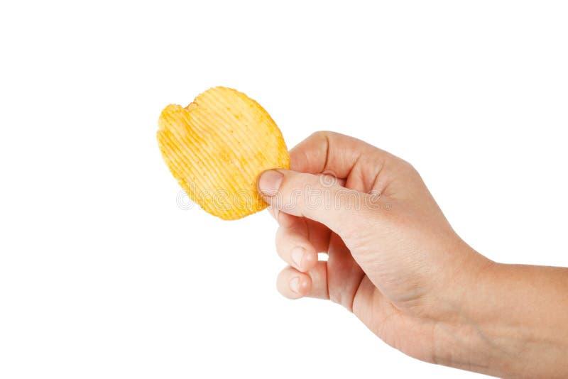 Pommes chips d'isolement sur le fond blanc images libres de droits
